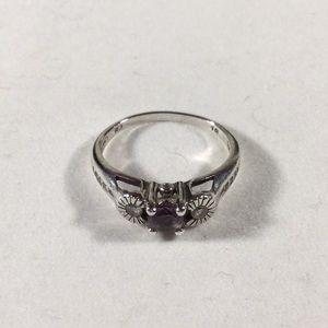 Vintage Avon 925 Sterling Silver Amethyst Ring